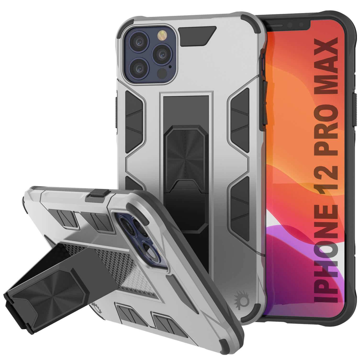 Punkcase iPhone 12 Pro Max Case [ArmorShield Series] Military Style Protective Dual Layer Case Silver