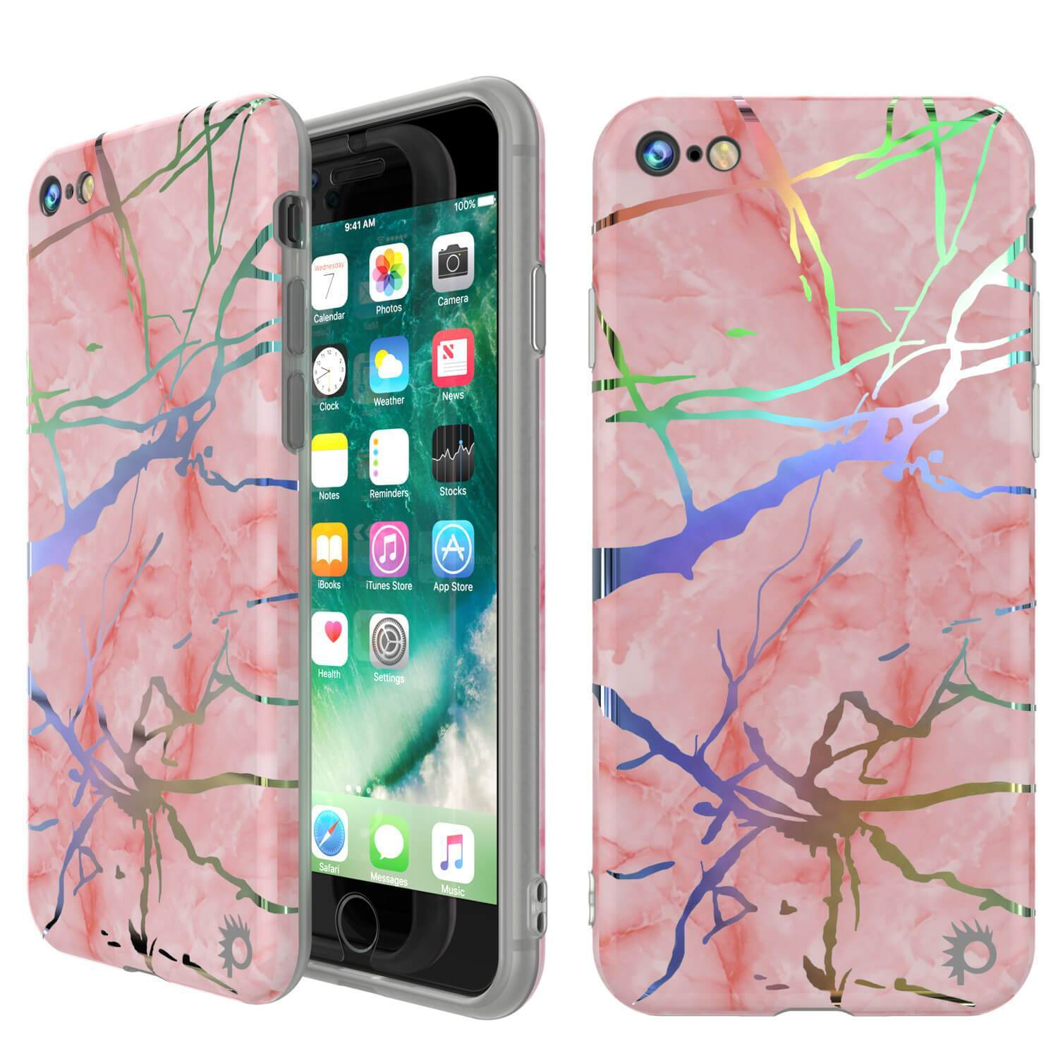 "Punkcase iPhone SE (4.7"") Marble Case, Protective Full Body Cover W/9H Tempered Glass Screen Protector (Rose Mirage)"