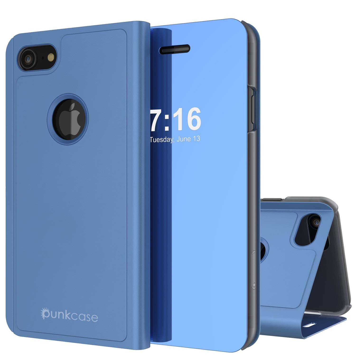 Punkcase iPhone 8 Reflector Case Protective Flip Cover [Blue]