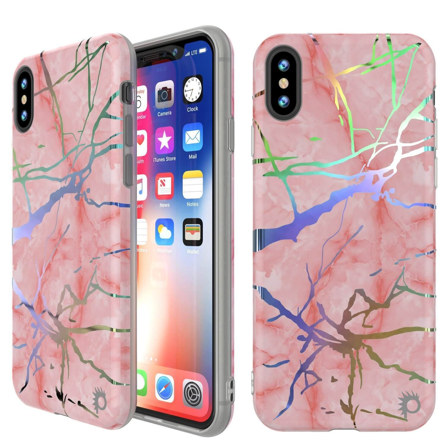 the best attitude 7b3e0 766db Punkcase iPhone XS Max Marble Case, Protective Full Body Cover W/9H  Tempered Glass Screen Protector (Rose Gold Mirage)