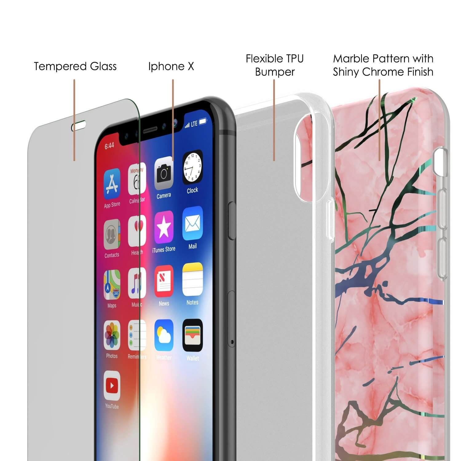 Punkcase iPhone X Marble Case, Protective Full Body Cover W/9H Tempered Glass Screen Protector (Rose Gold Mirage)