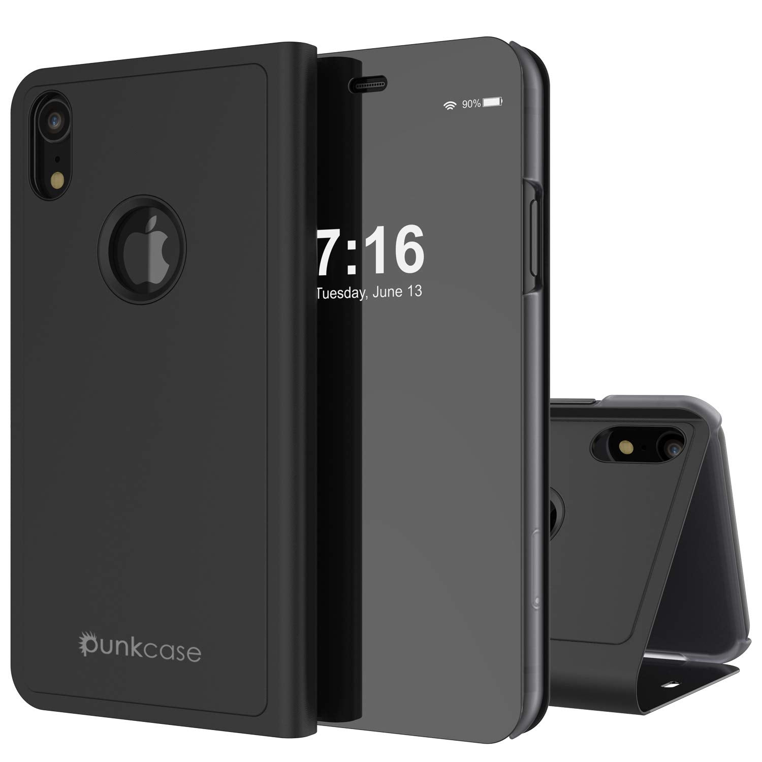 Punkcase iPhone XR Reflector Case Protective Flip Cover [Black]