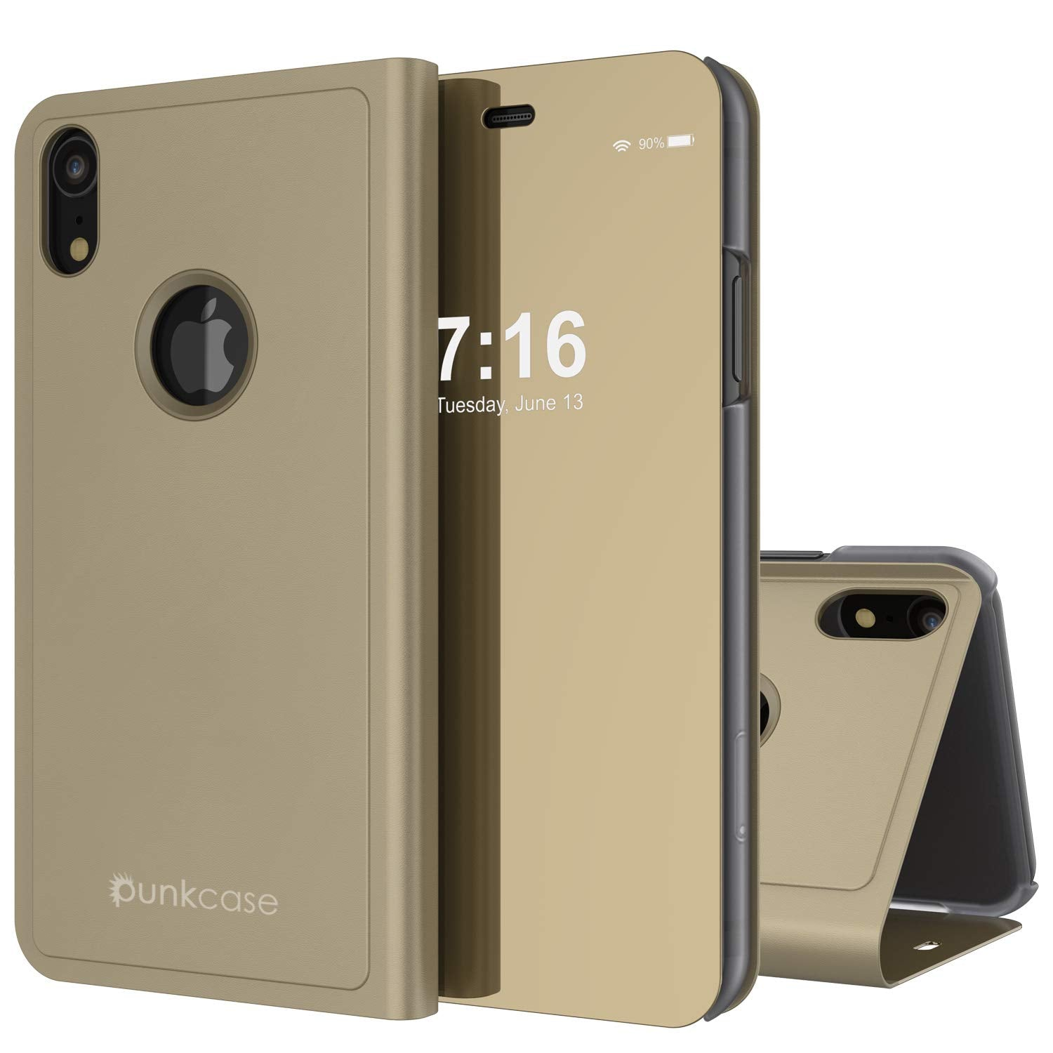 Punkcase iPhone XR Reflector Case Protective Flip Cover [Gold]