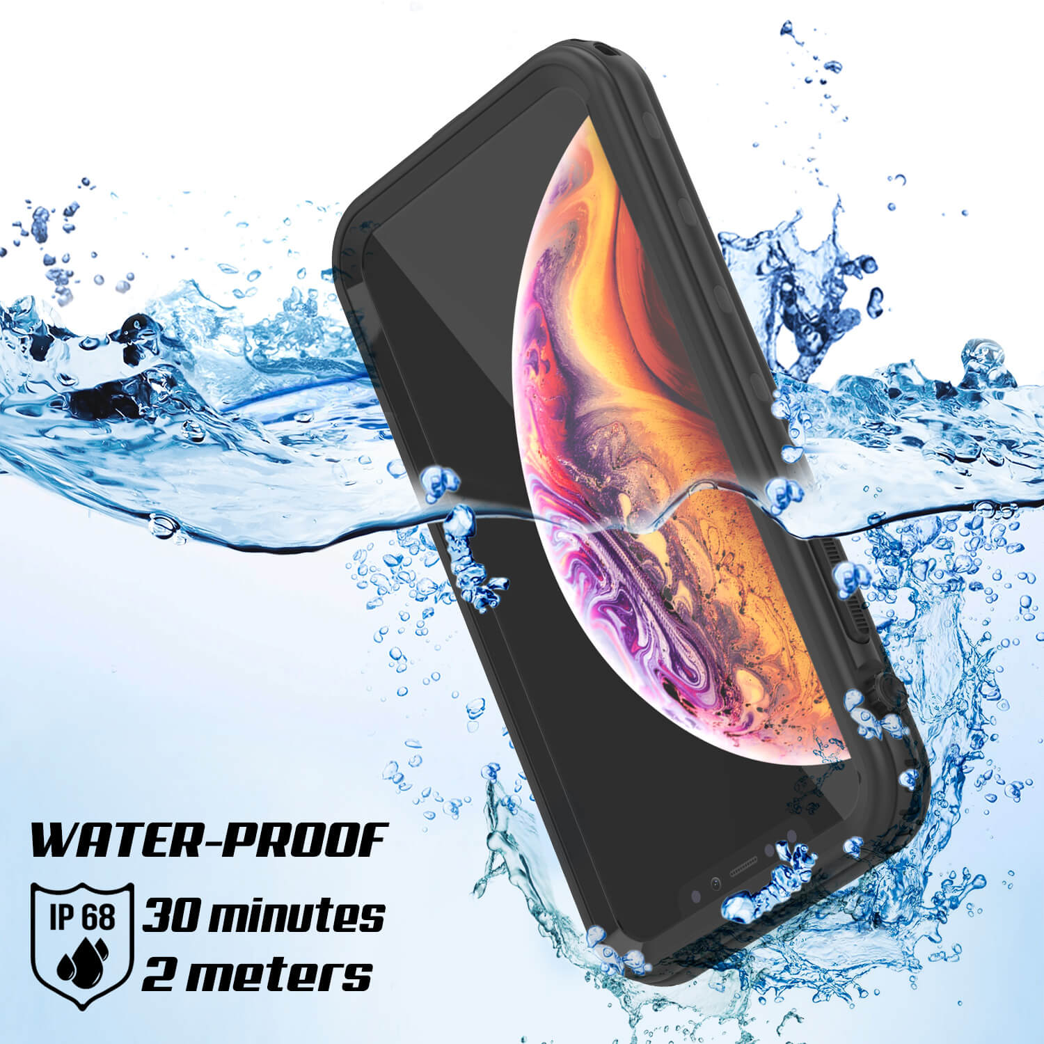 iPhone XR Waterproof Case, Punkcase [KickStud Series] Armor Cover [Black]