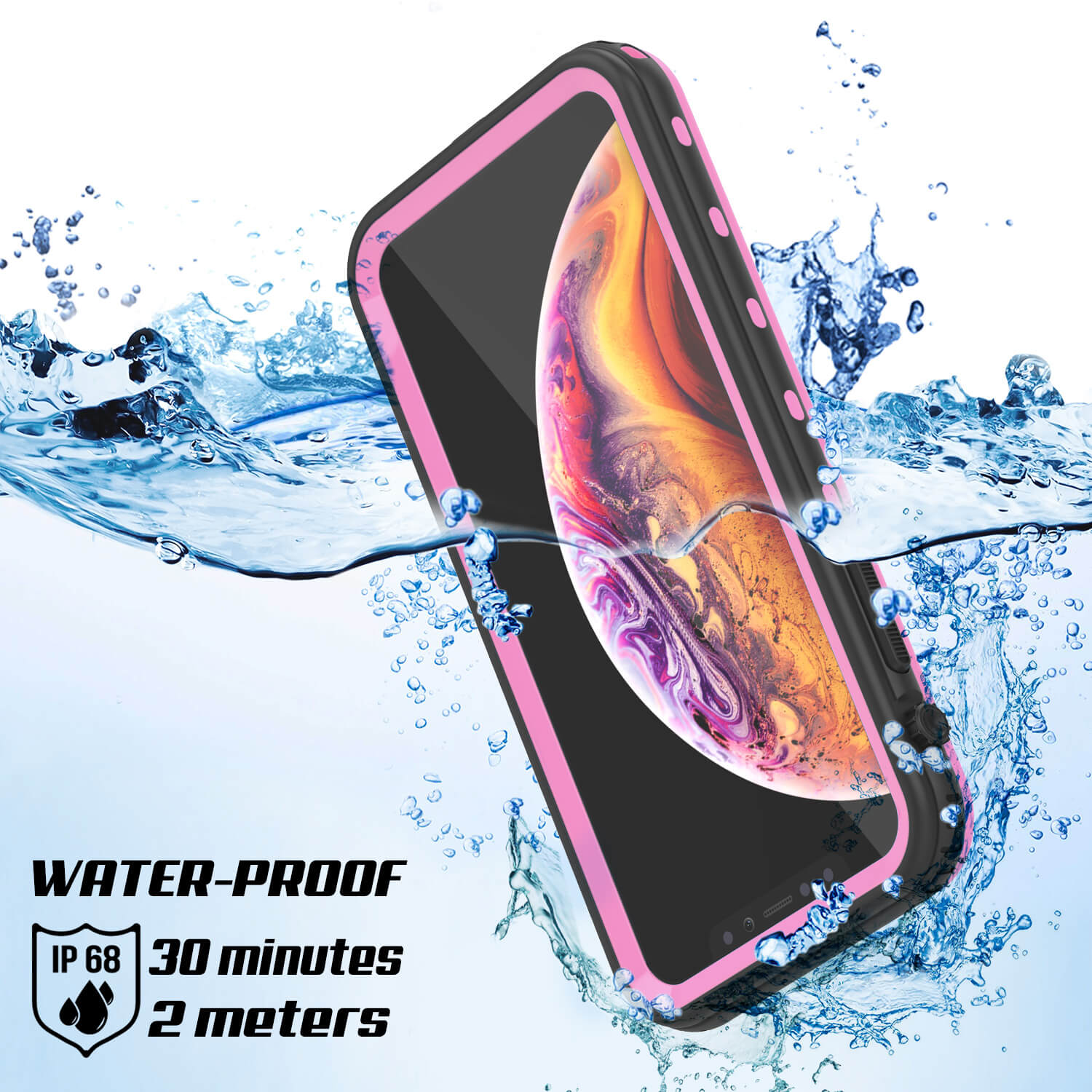 iPhone XR Waterproof Case, Punkcase [KickStud Series] Armor Cover [Pink]