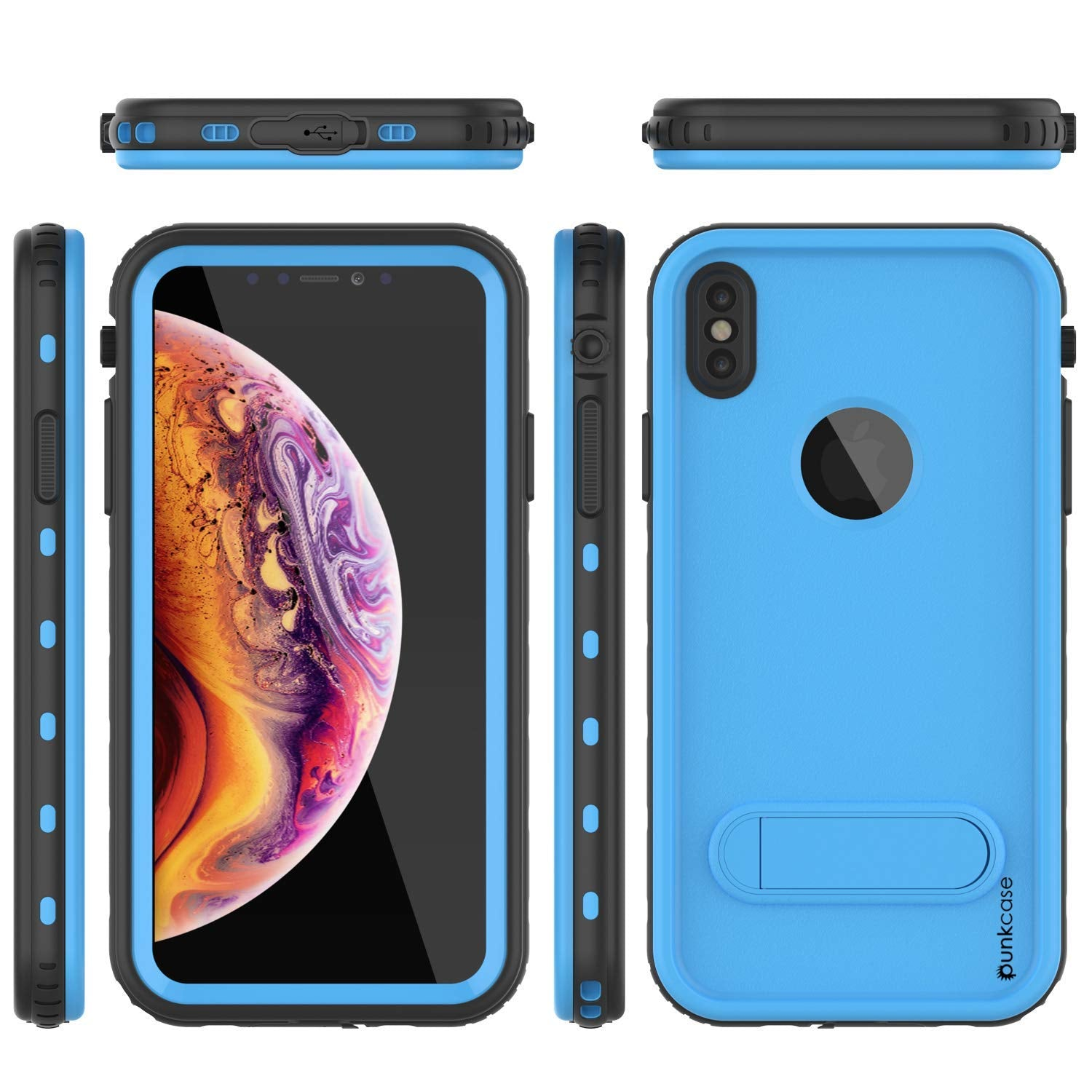 iPhone XS Max Waterproof Case, Punkcase [KickStud Series] Armor Cover [Light-Blue]