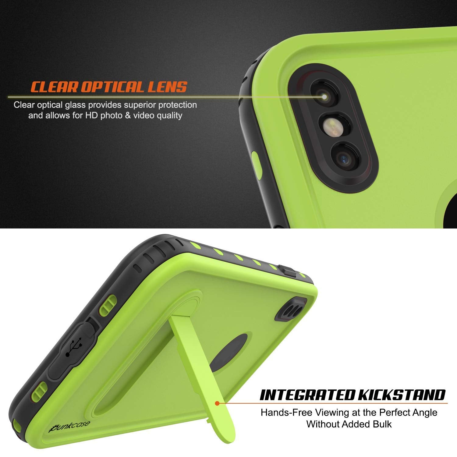 iPhone XS Max Waterproof Case, Punkcase [KickStud Series] Armor Cover [Light-Green]