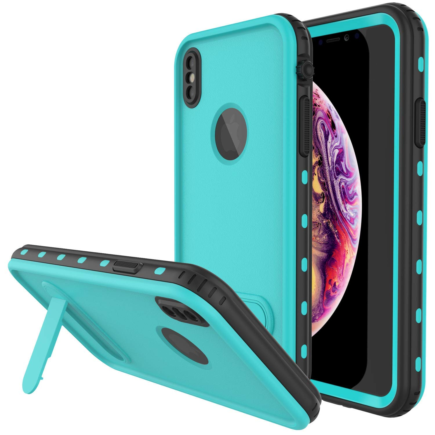 online store 528eb 15f1c iPhone XS Max Waterproof Case, Punkcase [KickStud Series] Armor Cover [Teal]