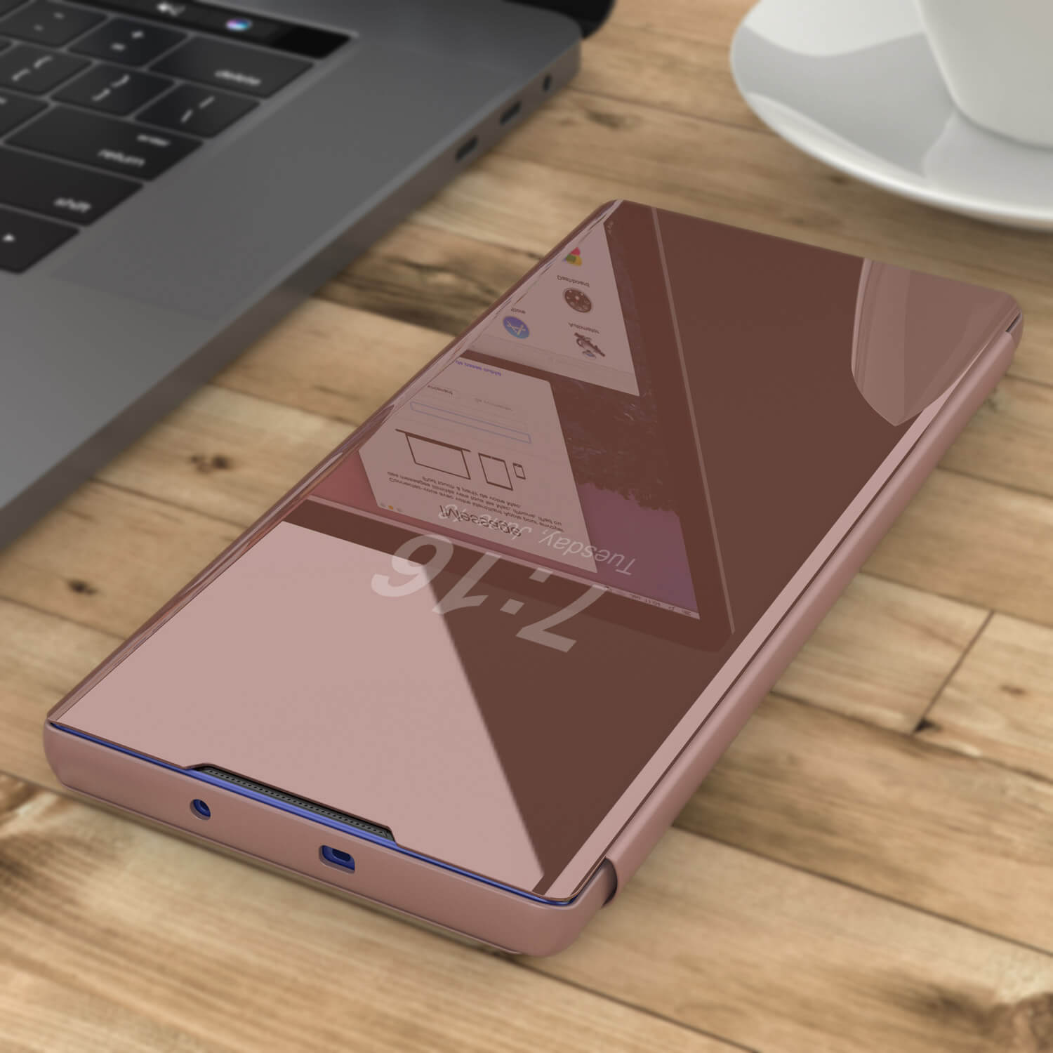Punkcase Note 10+ Plus Reflector Case Protective Flip Cover [Rose]