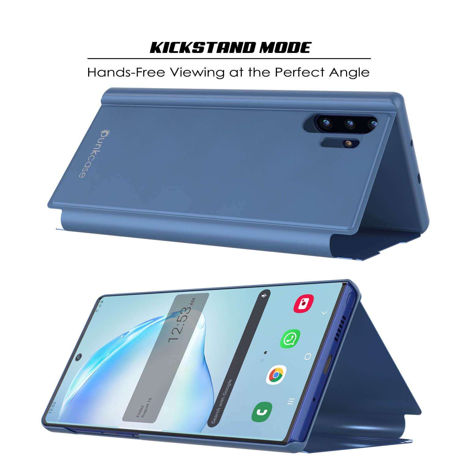 Punkcase Note 10+ Plus Reflector Case Protective Flip Cover [Blue]