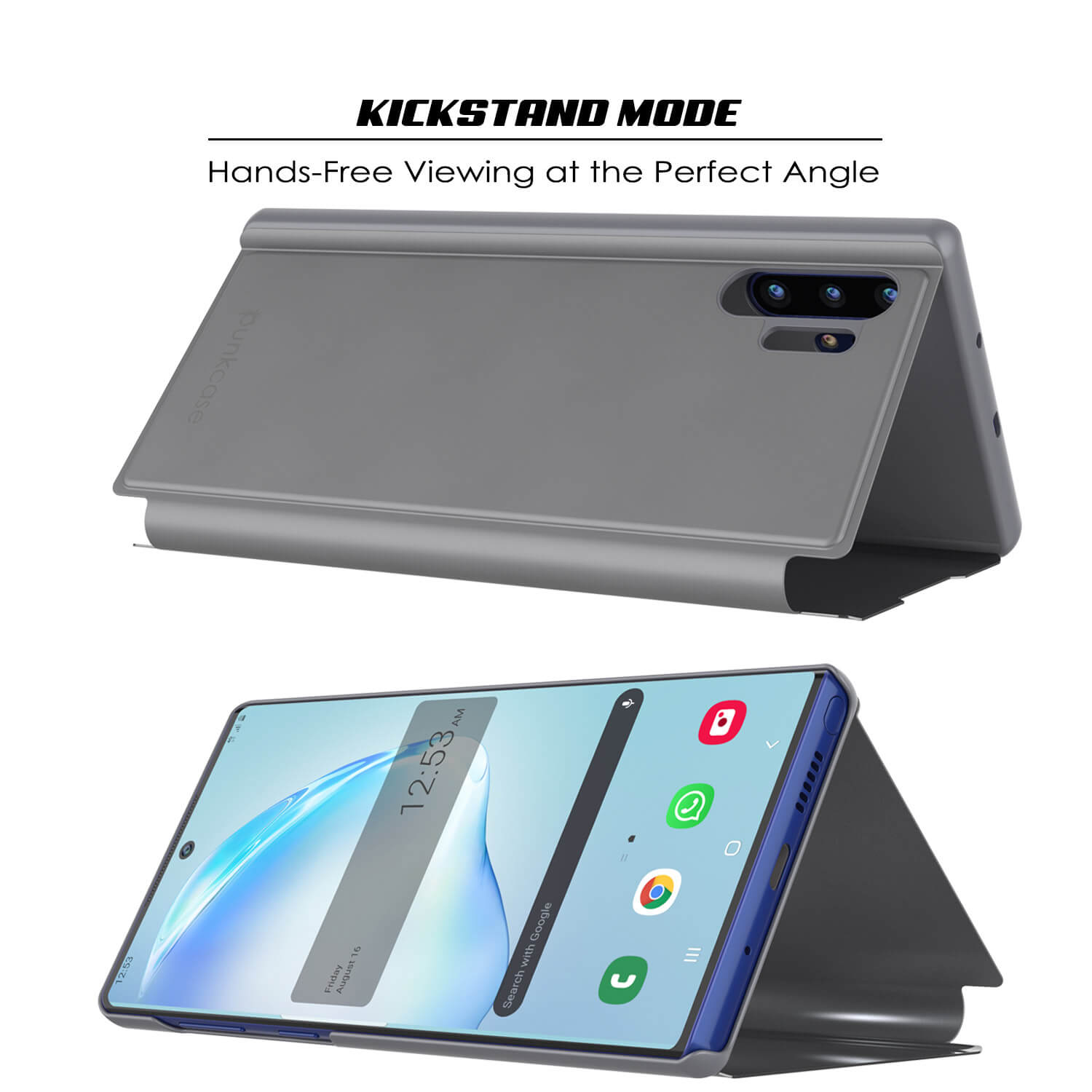 Punkcase Note 10+ Plus Reflector Case Protective Flip Cover [Silver]