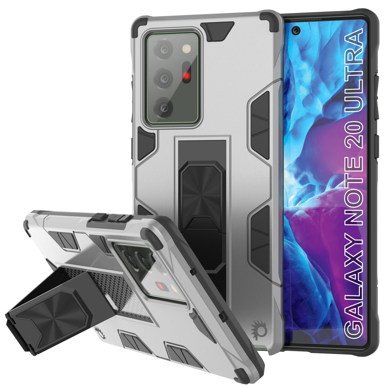 Punkcase Note 20 Ultra Case [ArmorShield Series] Military Style Protective Dual Layer Case Silver