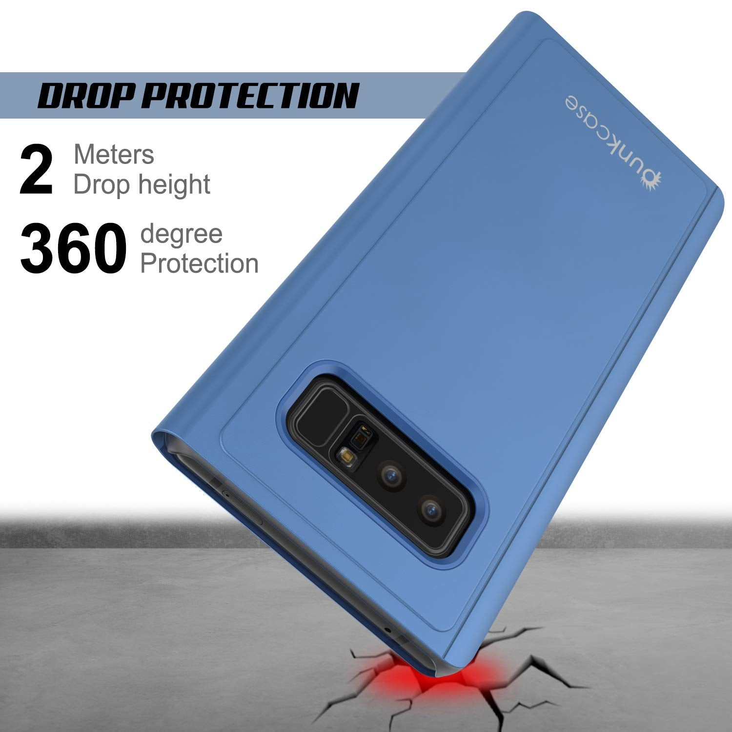 Punkcase Note 8 Reflector Case Protective Flip Cover [Blue]