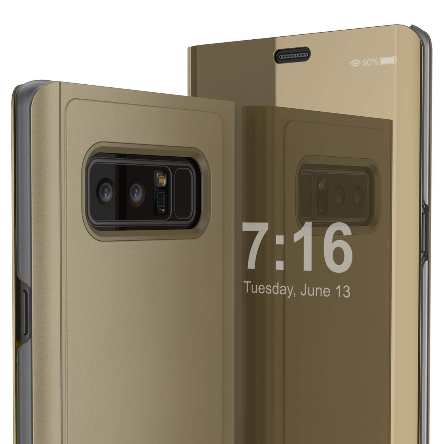 Punkcase Note 8 Reflector Case Protective Flip Cover [Gold]