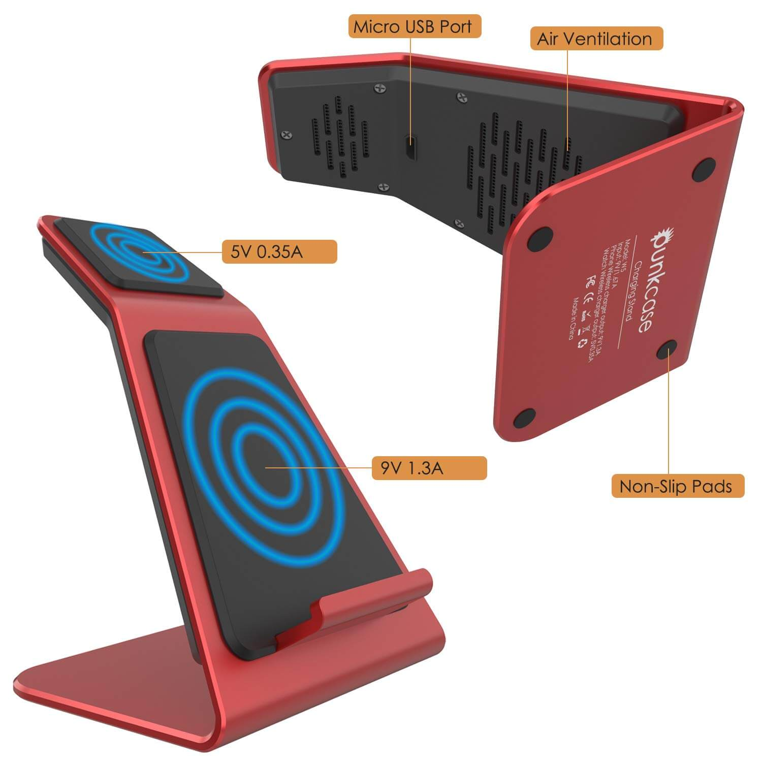 Punkcase Phone and Watch Charging Station [Red]