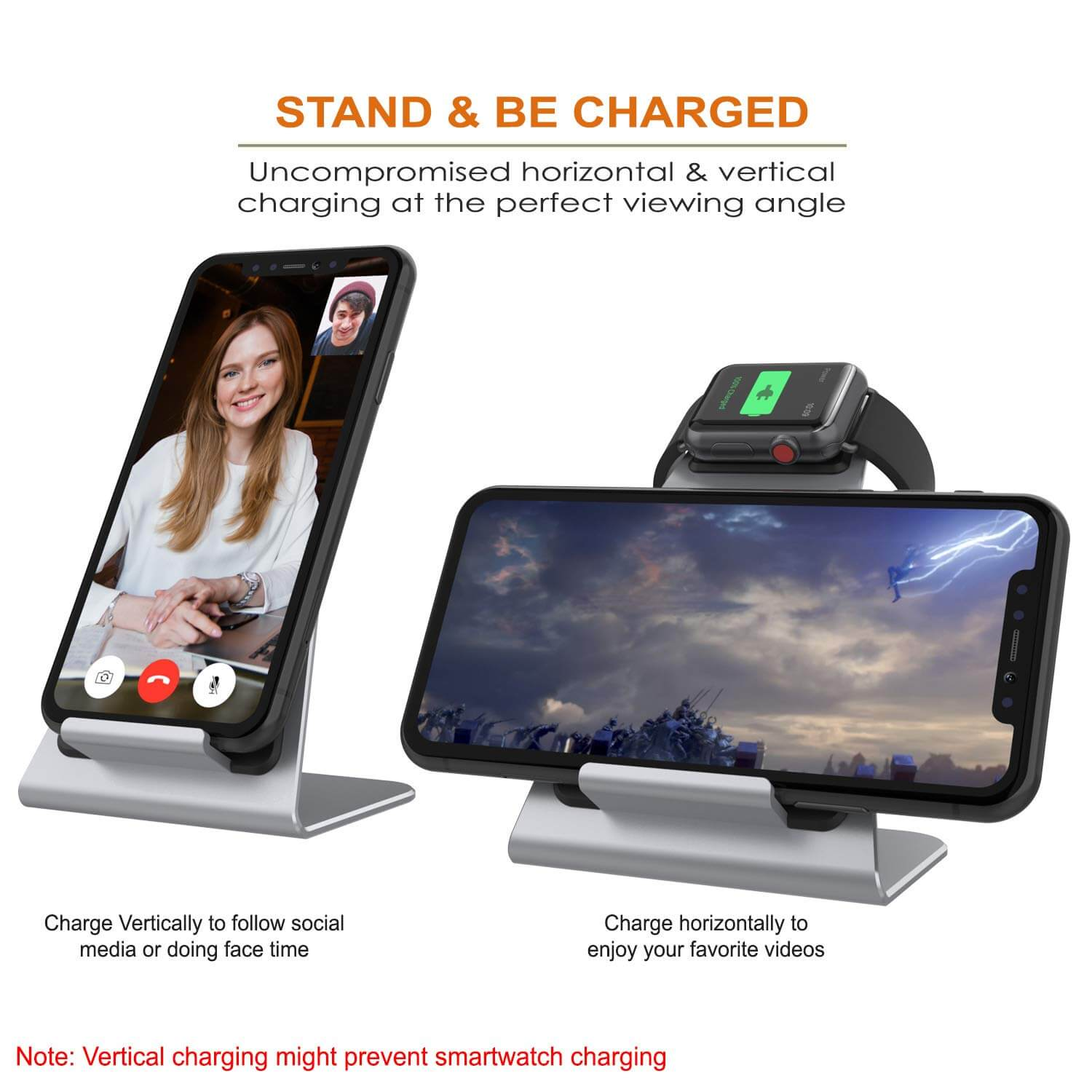 Punkcase Phone and Watch Charging Station [Silver]