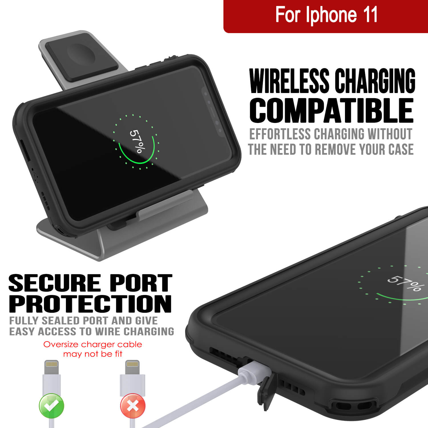 iPhone 11 Waterproof IP68 Case, Punkcase [Black] [Rapture Series]  W/Built in Screen Protector