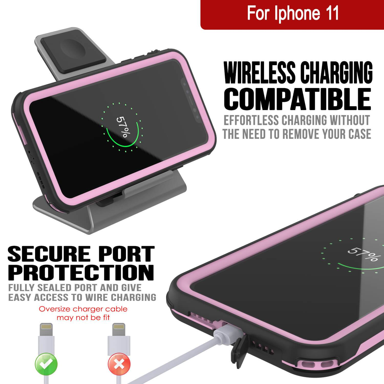 iPhone 8+ Plus Waterproof IP68 Case, Punkcase [pink] [Rapture Series]  W/Built in Screen Protector