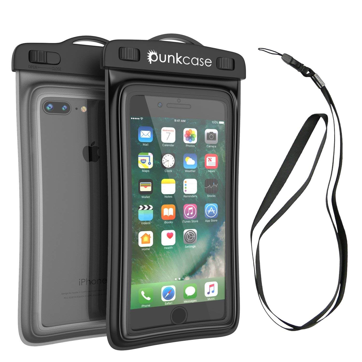 Waterproof Phone Pouch, PunkBag Universal Floating Dry Case Bag for most Cell Phones [Black]