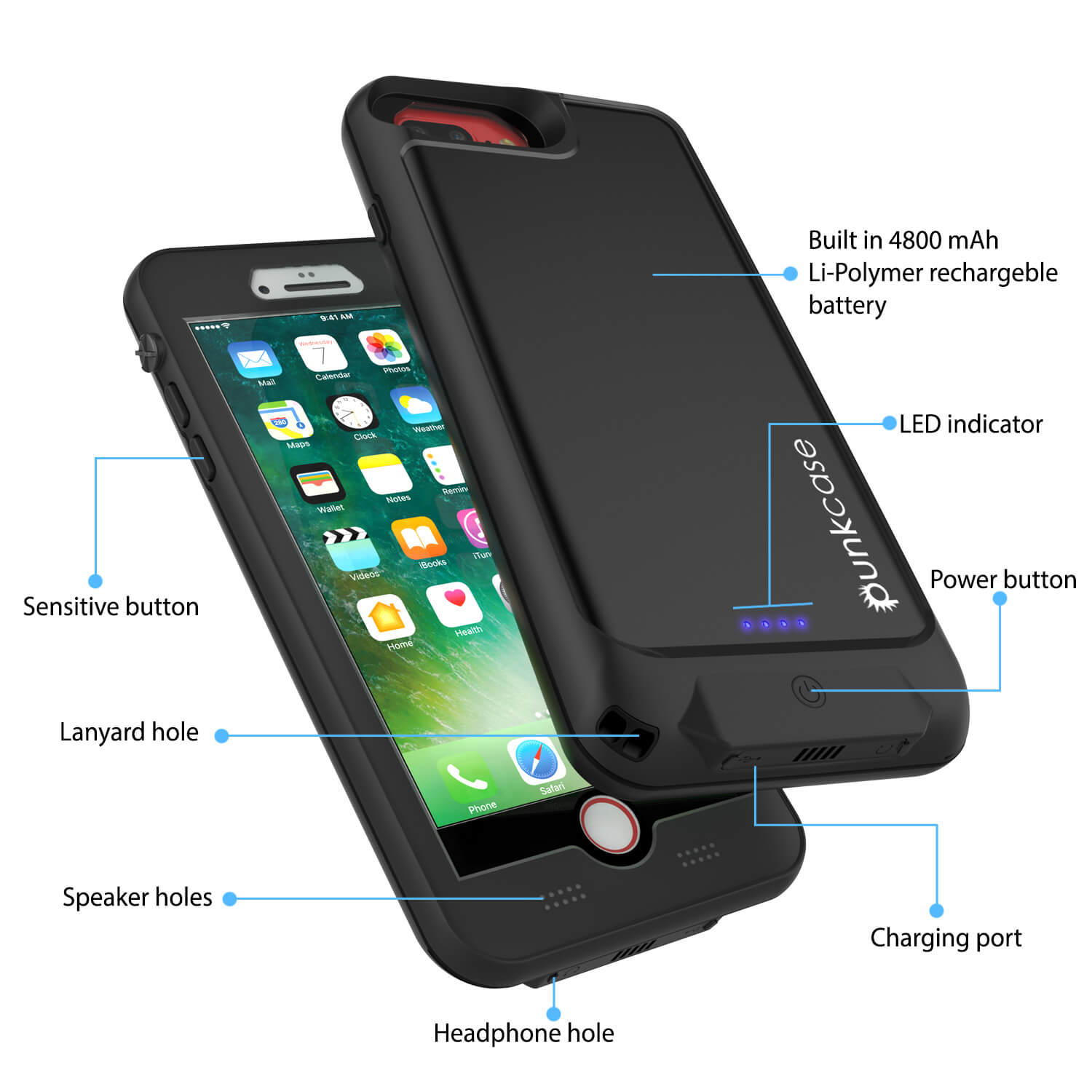 the best attitude 02117 c9166 PunkJuice iPhone 7+Plus Battery Case Black - Waterproof Slim Power ...