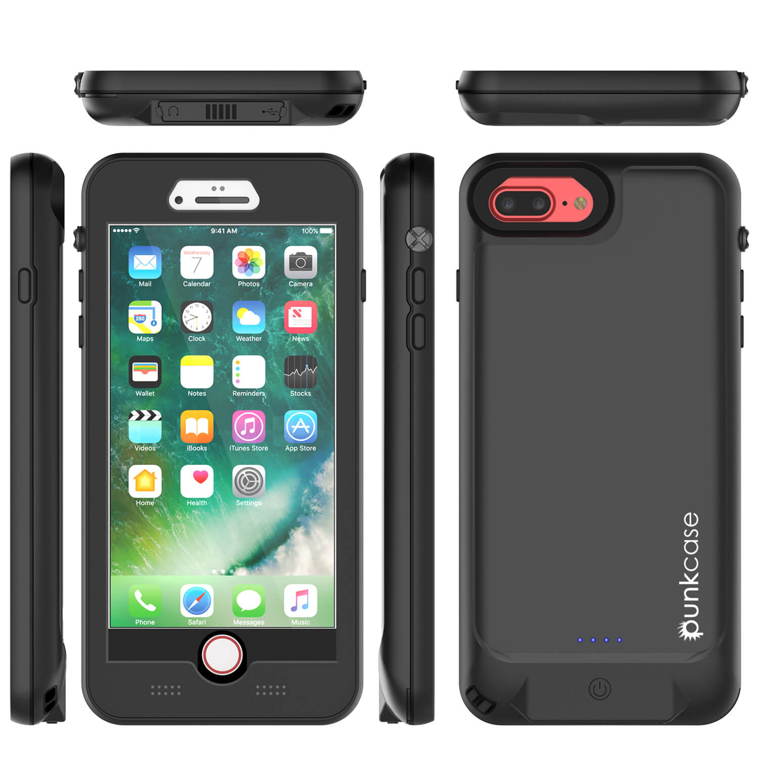 PunkJuice iPhone 7+Plus Battery Case Black - Waterproof Slim Power Juice Bank with 4300mAh