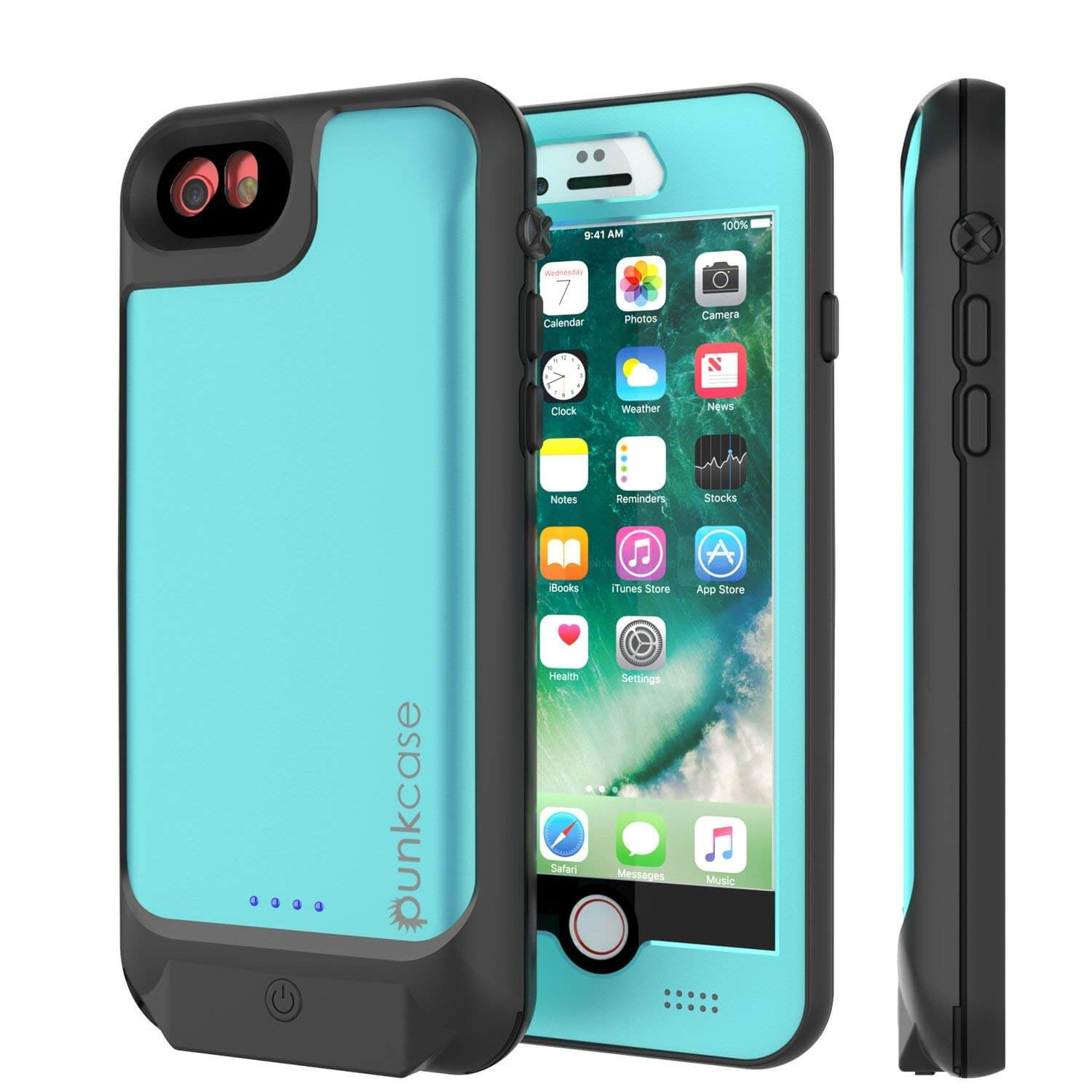 PunkJuice iPhone 8/7 Battery Case Teal - Waterproof Slim Power Juice Bank with 2750mAh