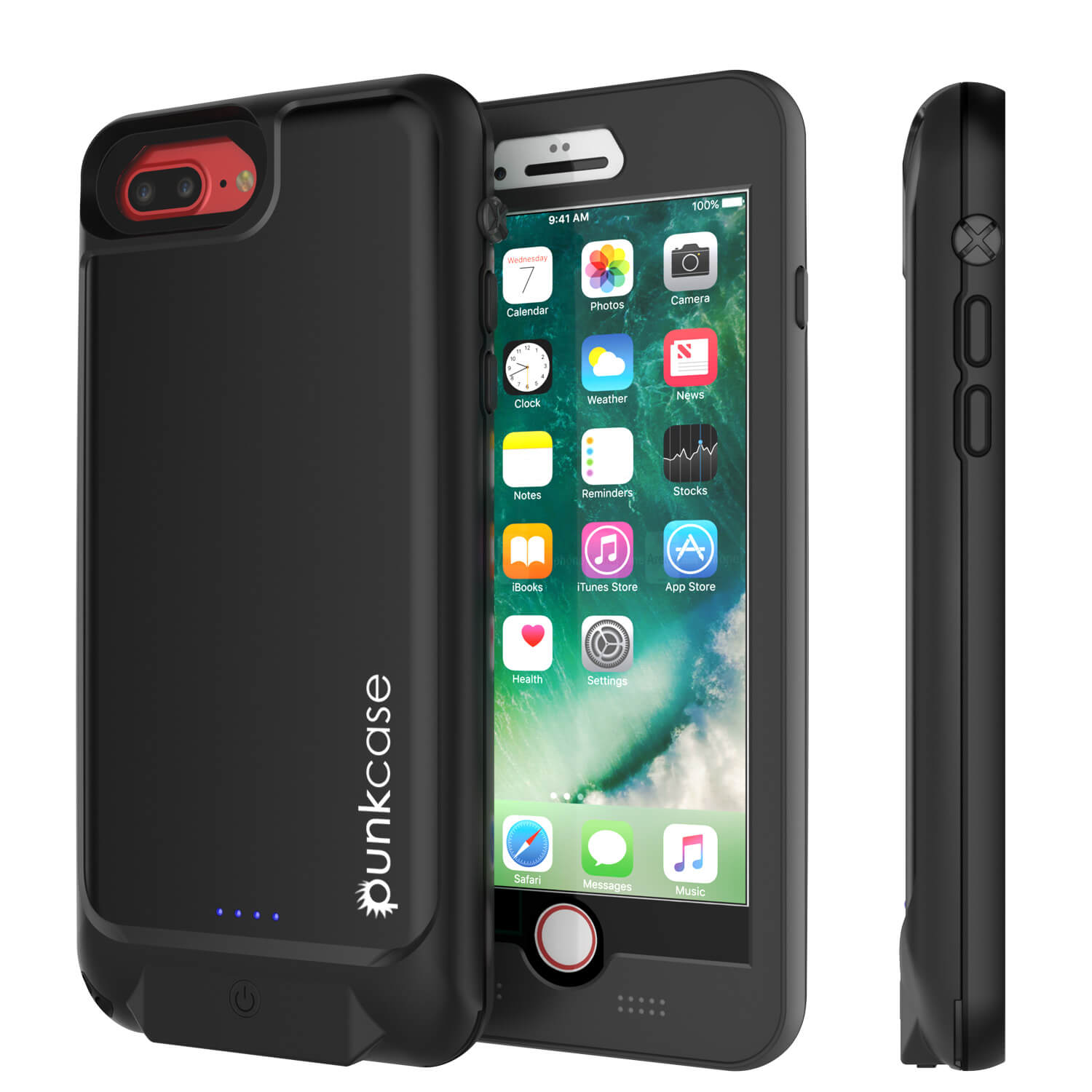 PunkJuice iPhone 8+/7+Plus Battery Case Black - Waterproof Slim Power Juice Bank with 4300mAh