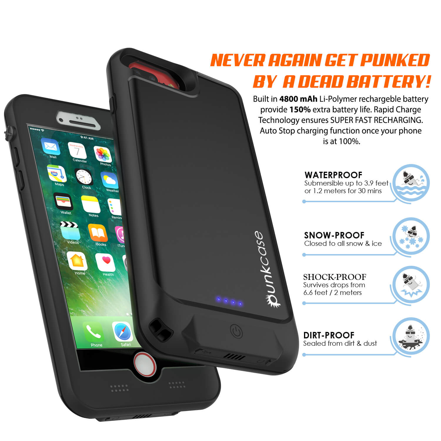 timeless design d721f 66455 PunkJuice iPhone 8+ Plus External Battery Case Black - Waterproof