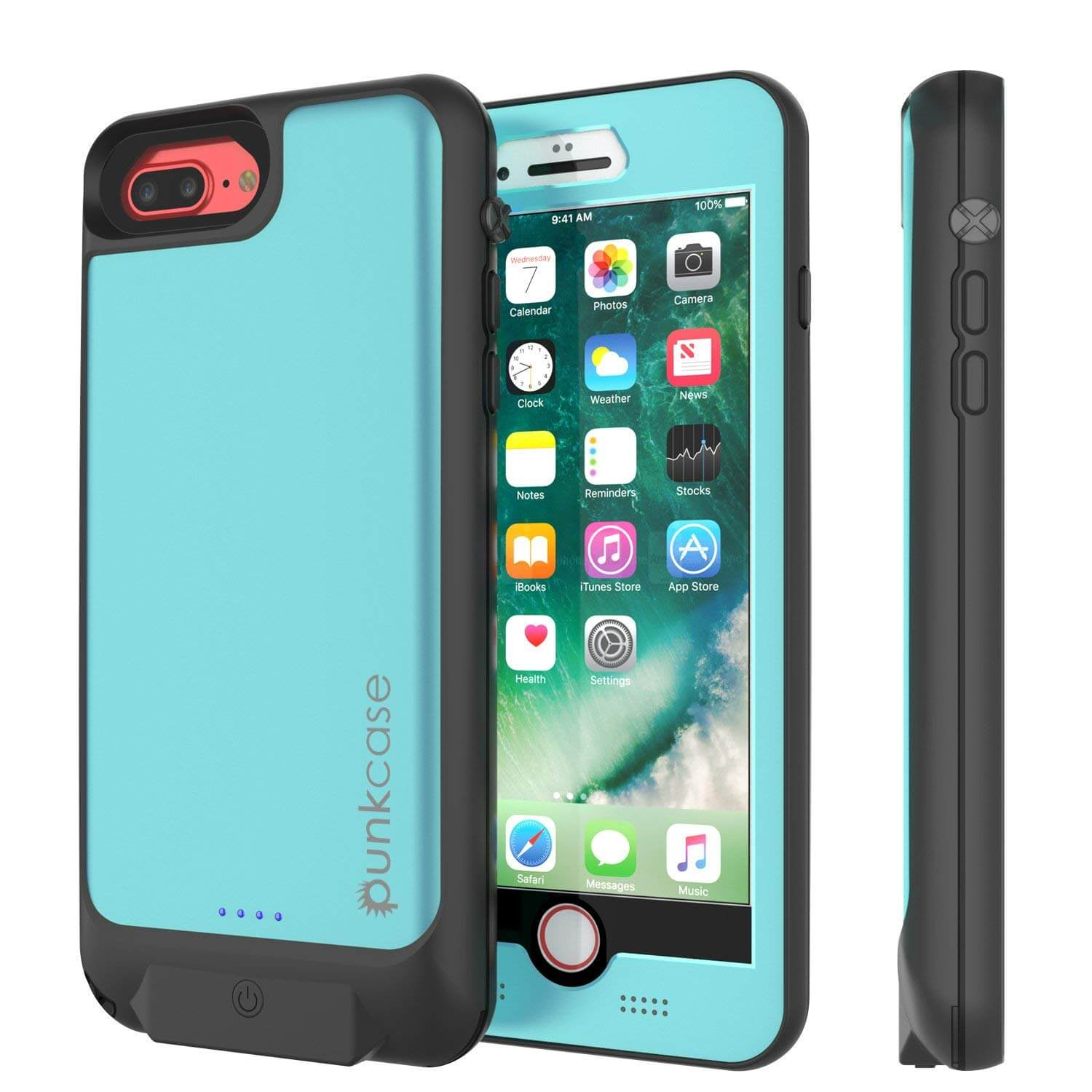 PunkJuice iPhone 8+/7+ Plus Battery Case Teal - Waterproof Slim Power Juice Bank with 4300mAh