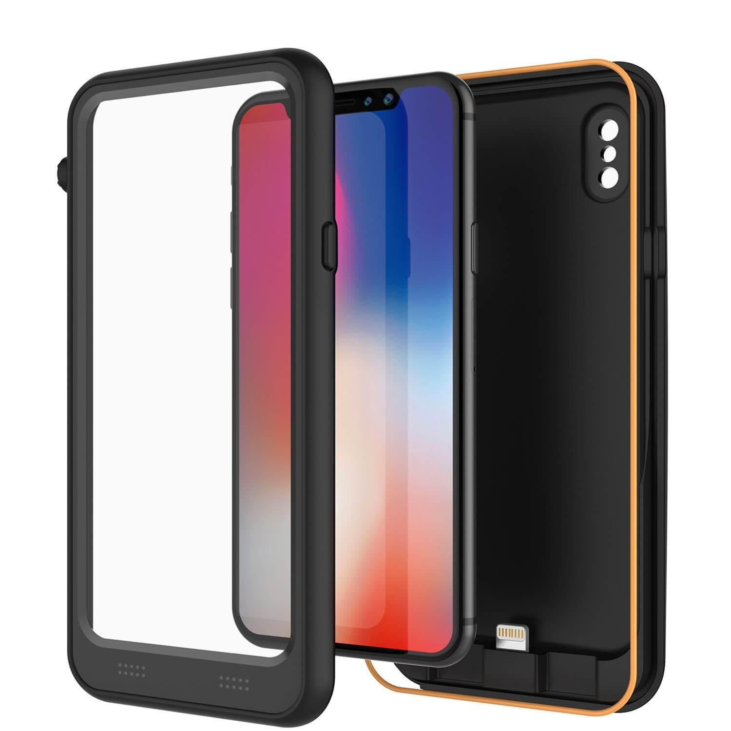 PunkJuice iPhone X Battery Case, Waterproof, IP68 Certified [Ultra Slim] [Black]