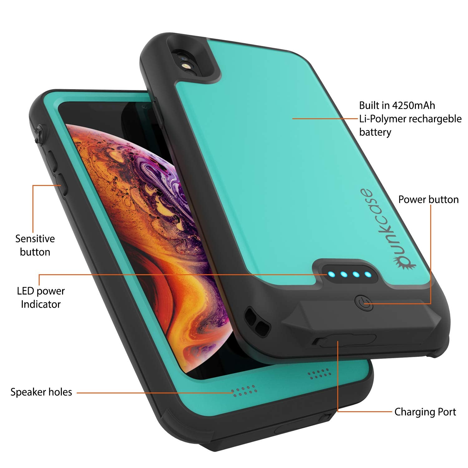 PunkJuice iPhone XS Battery Case, Waterproof, IP68 Certified [Ultra Slim] [Teal]