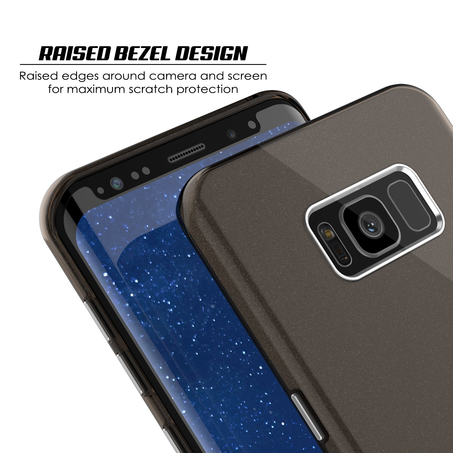 Galaxy S8 Case, Punkcase Galactic 2.0 Series Ultra Slim Protective Armor TPU Cover w/ PunkShield Screen Protector [Black/grey]