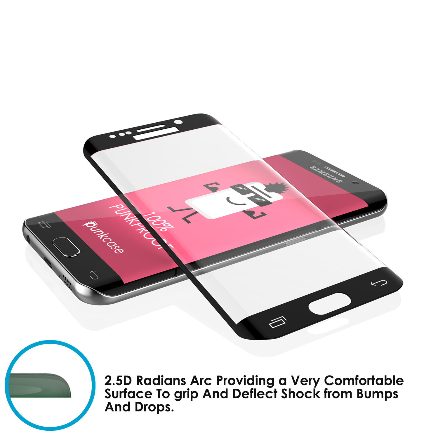 Galaxy S7 Edge Black Punkcase Glass SHIELD Tempered Glass Screen Protector  0 33mm Thick 9H Glass