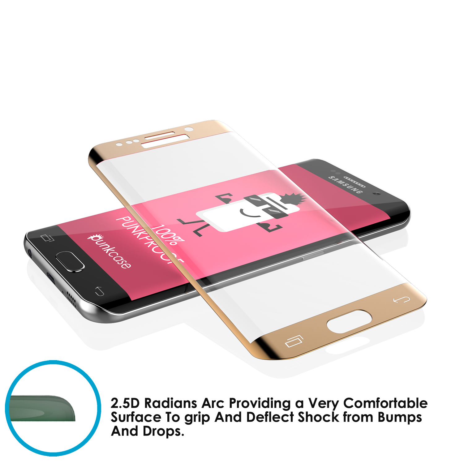 Galaxy S6 Edge Plus Gold Punkcase Glass SHIELD Tempered Glass Screen Protector 0.33mm Thick 9H