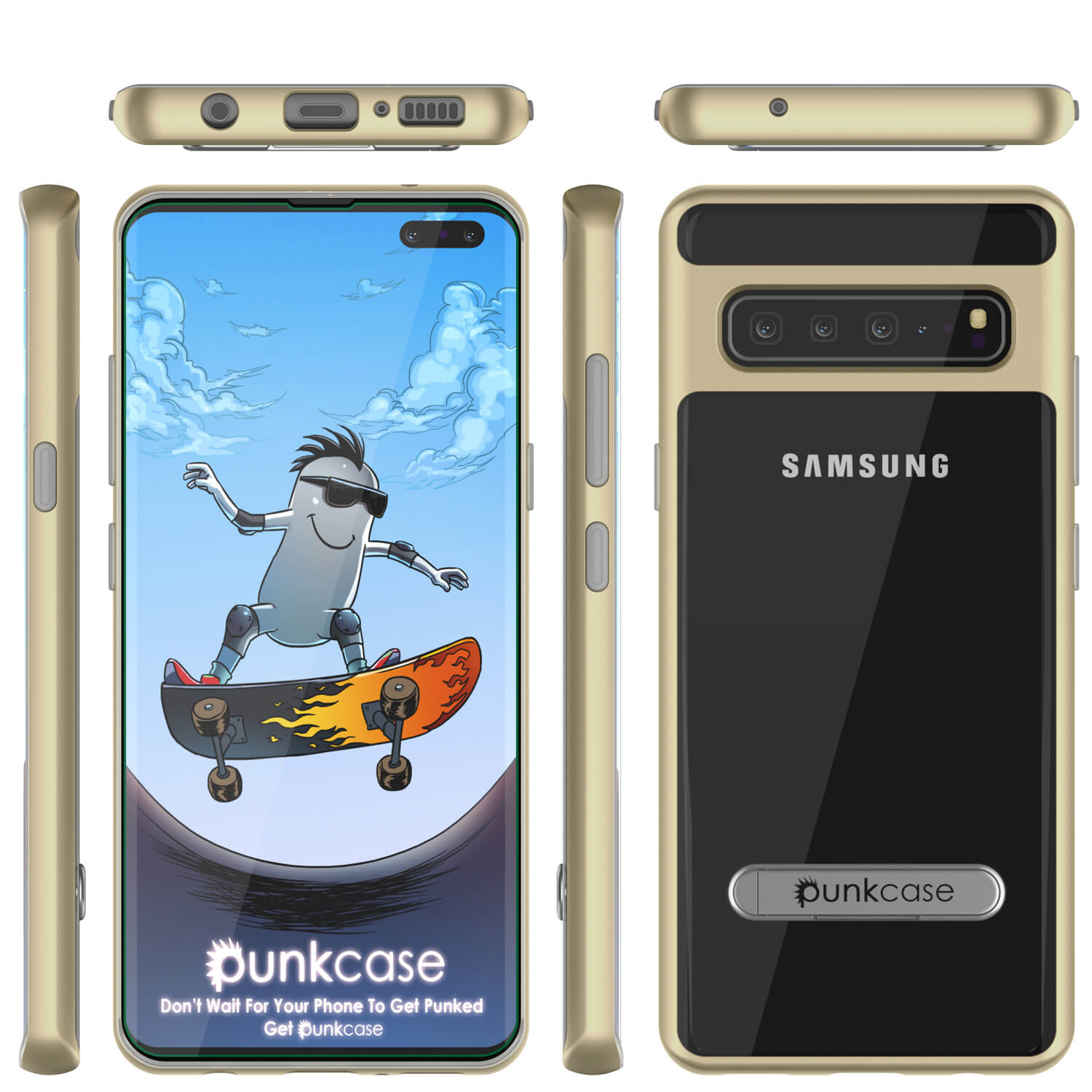 Galaxy S10 5G Case, PUNKcase [LUCID 3.0 Series] [Slim Fit] Armor Cover w/ Integrated Screen Protector [Gold]