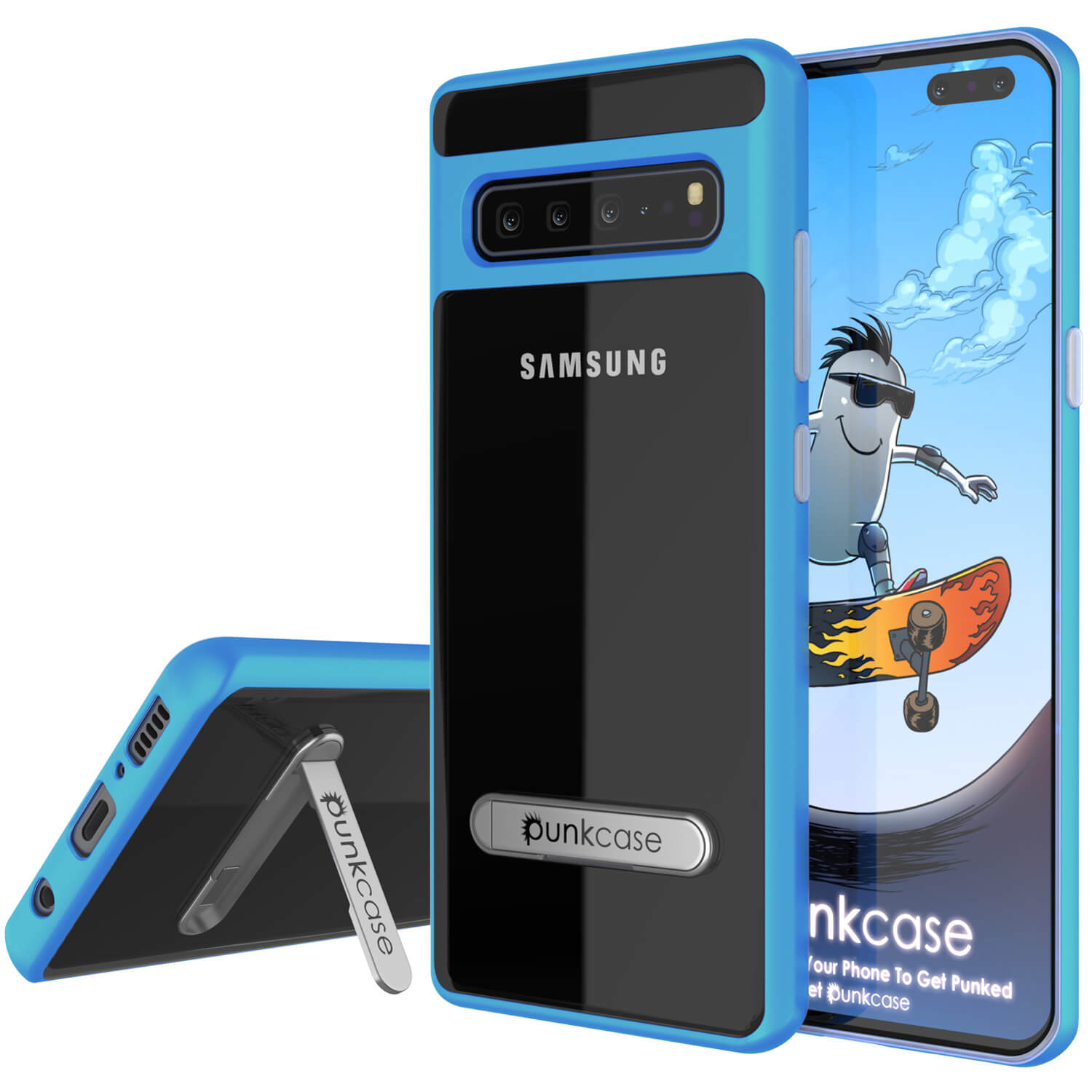 Galaxy S10 5G Case, PUNKcase [LUCID 3.0 Series] [Slim Fit] Armor Cover w/ Integrated Screen Protector [Blue]
