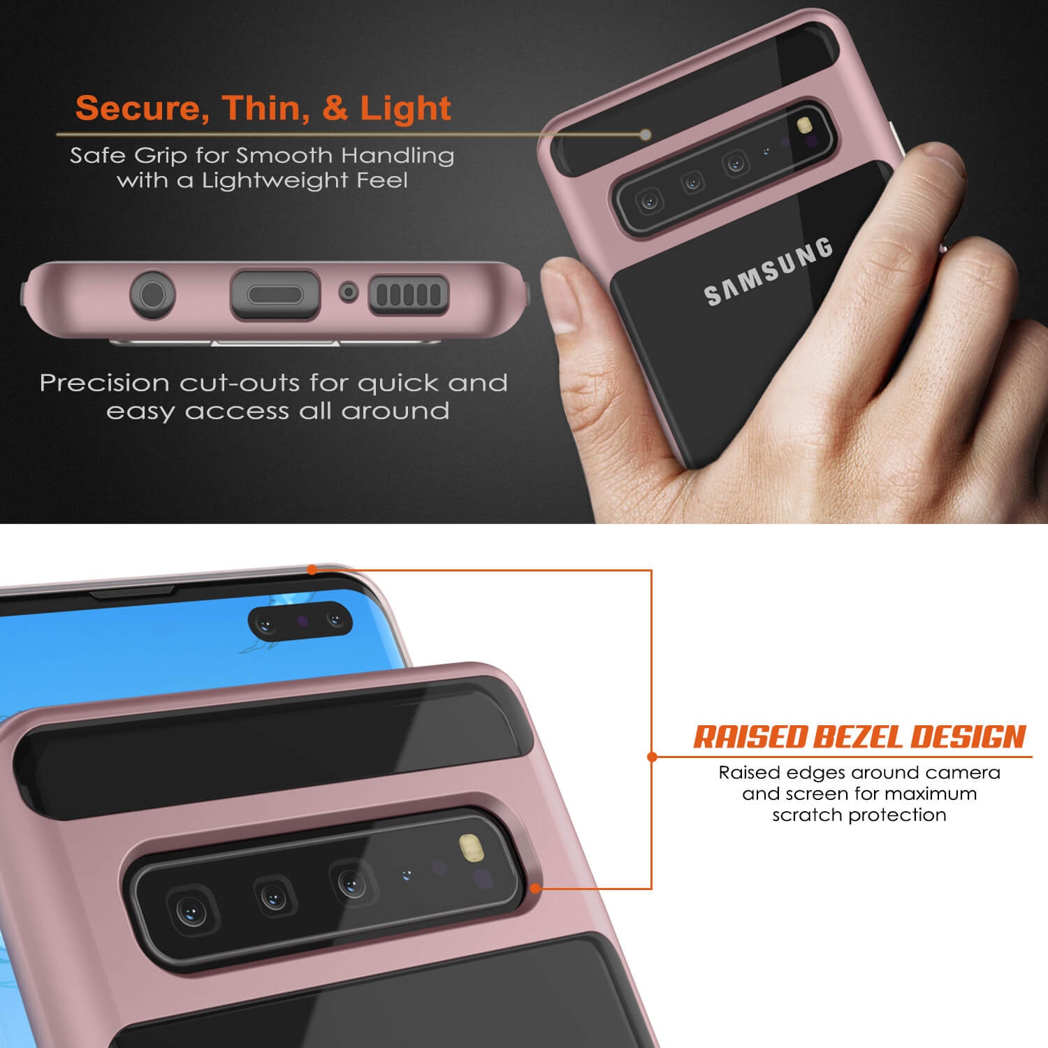 Galaxy S10 5G Case, PUNKcase [LUCID 3.0 Series] [Slim Fit] Armor Cover w/ Integrated Screen Protector [Rose Gold]