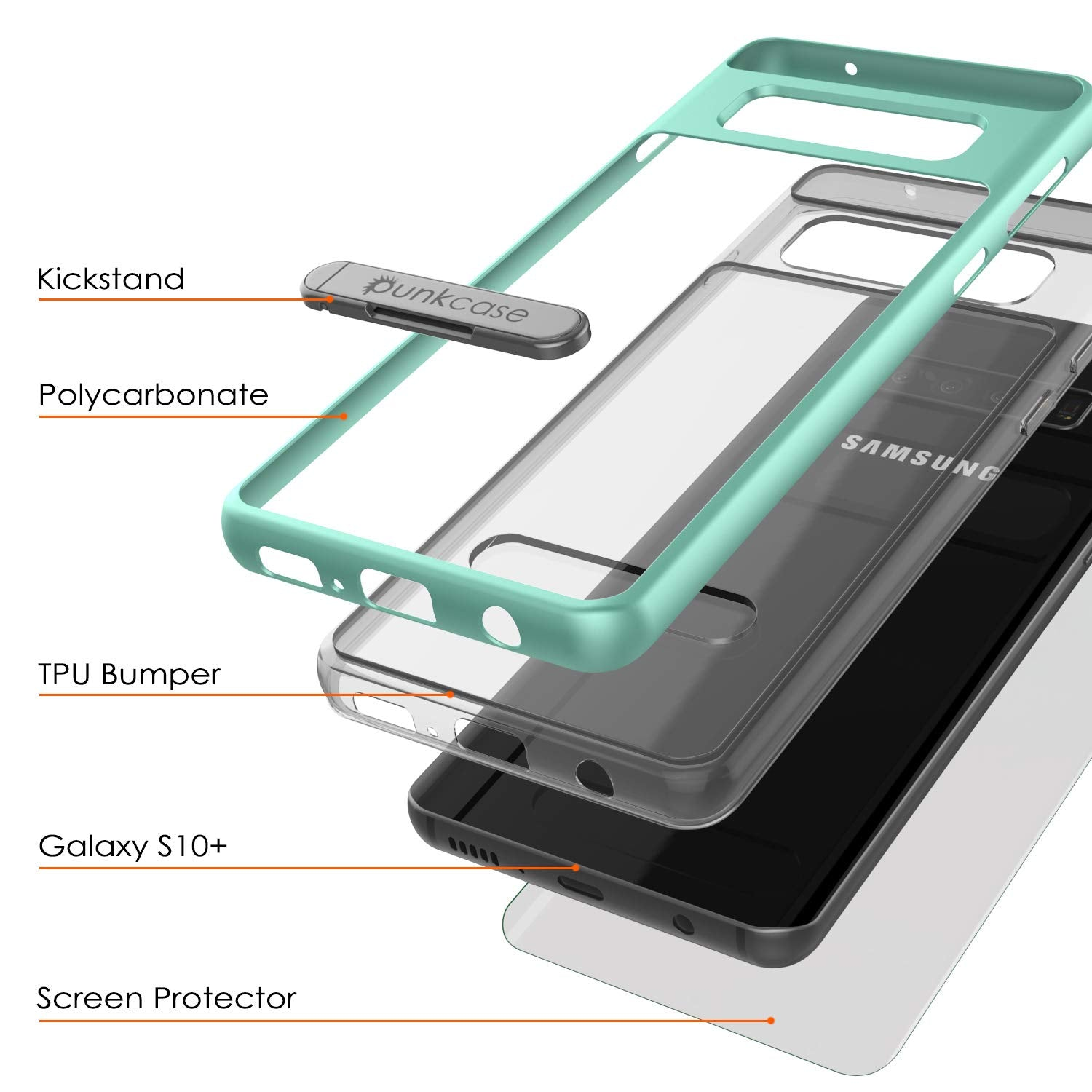 Galaxy S10+ Plus Case, PUNKcase [LUCID 3.0 Series] [Slim Fit] Armor Cover w/ Integrated Screen Protector [Teal]