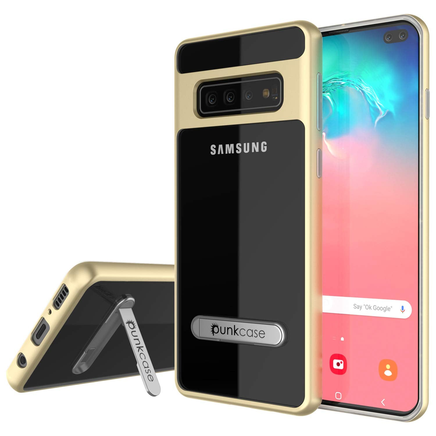 Galaxy S10+ Plus Case, PUNKcase [LUCID 3.0 Series] [Slim Fit] Armor Cover w/ Integrated Screen Protector [Gold]