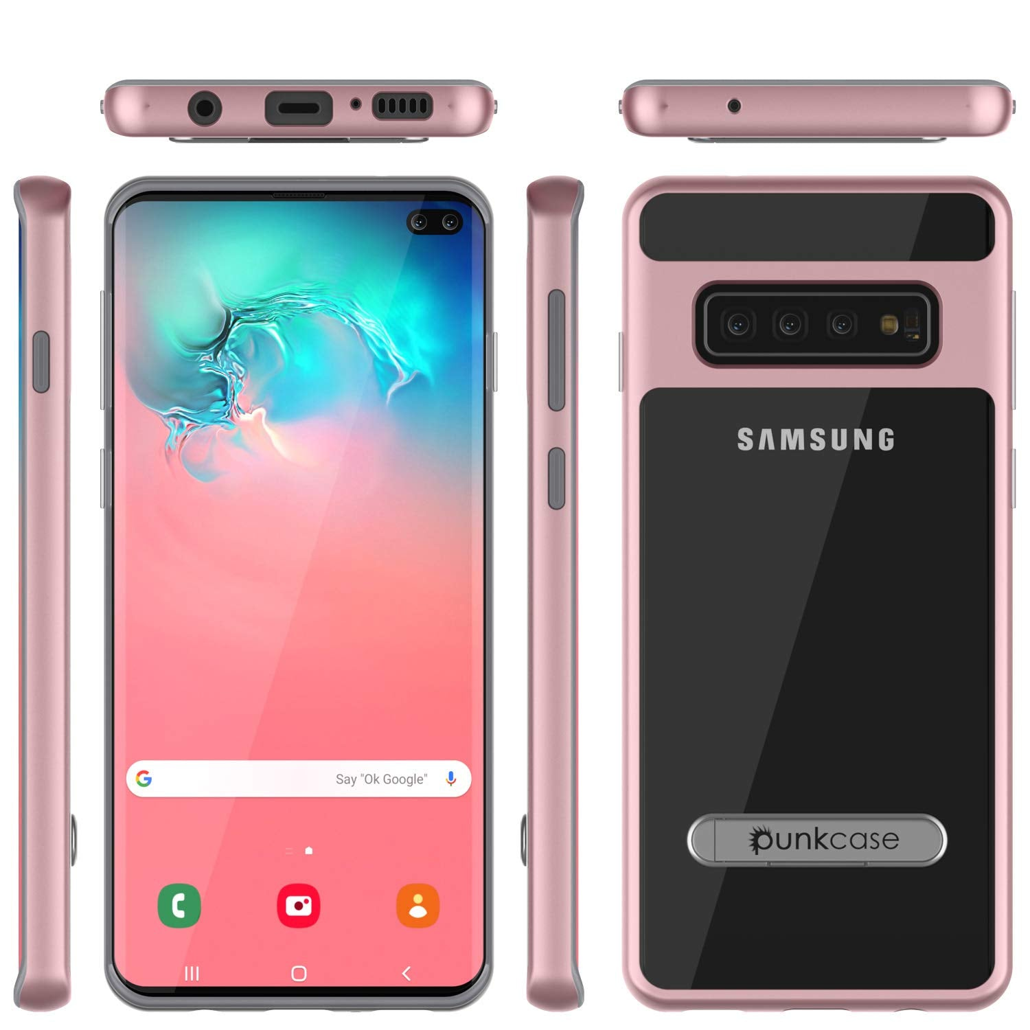 Galaxy S10+ Plus Case, PUNKcase [LUCID 3.0 Series] [Slim Fit] Armor Cover w/ Integrated Screen Protector [Rose Gold]