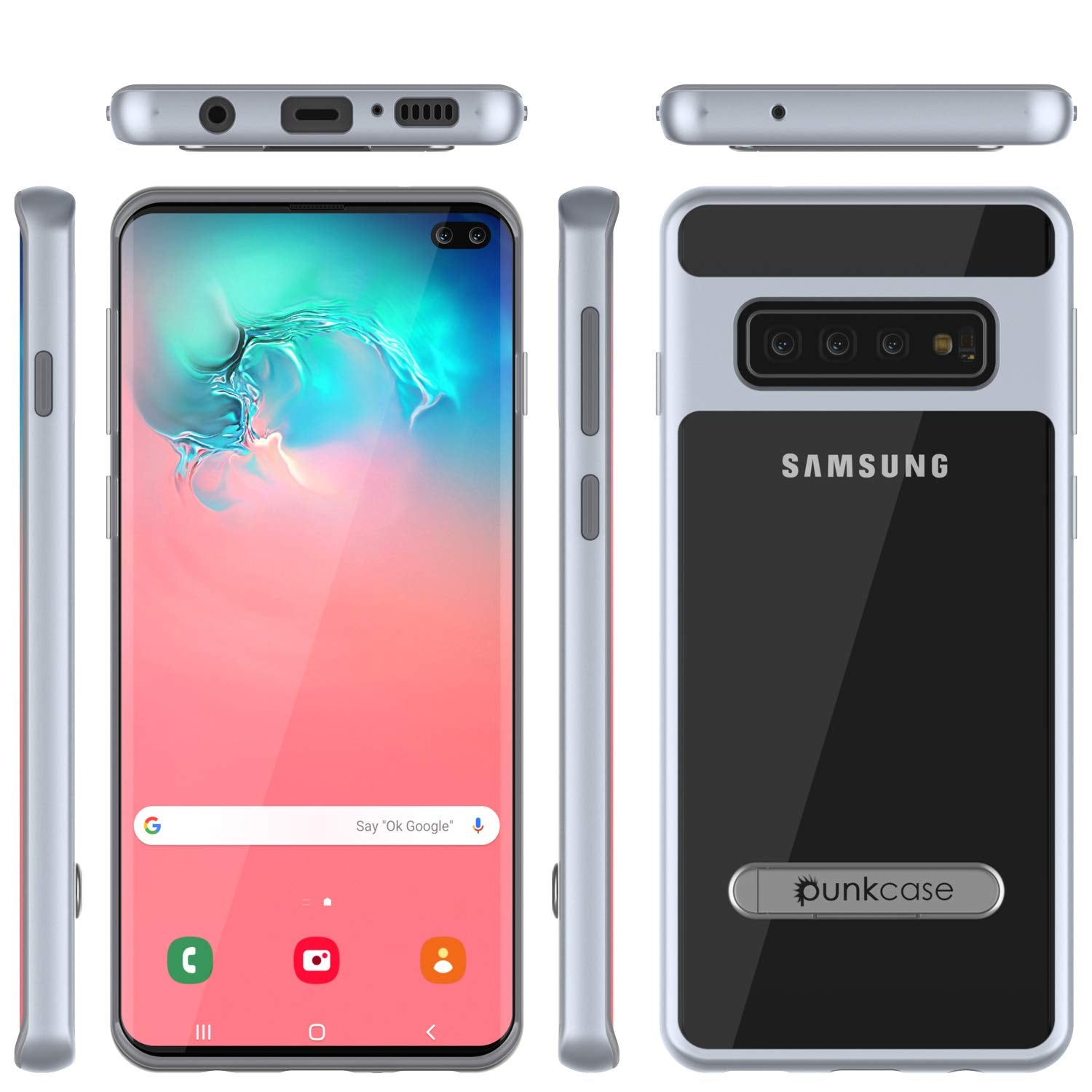 Galaxy S10 Case, PUNKcase [LUCID 3.0 Series] [Slim Fit] Armor Cover w/ Integrated Screen Protector [Silver]