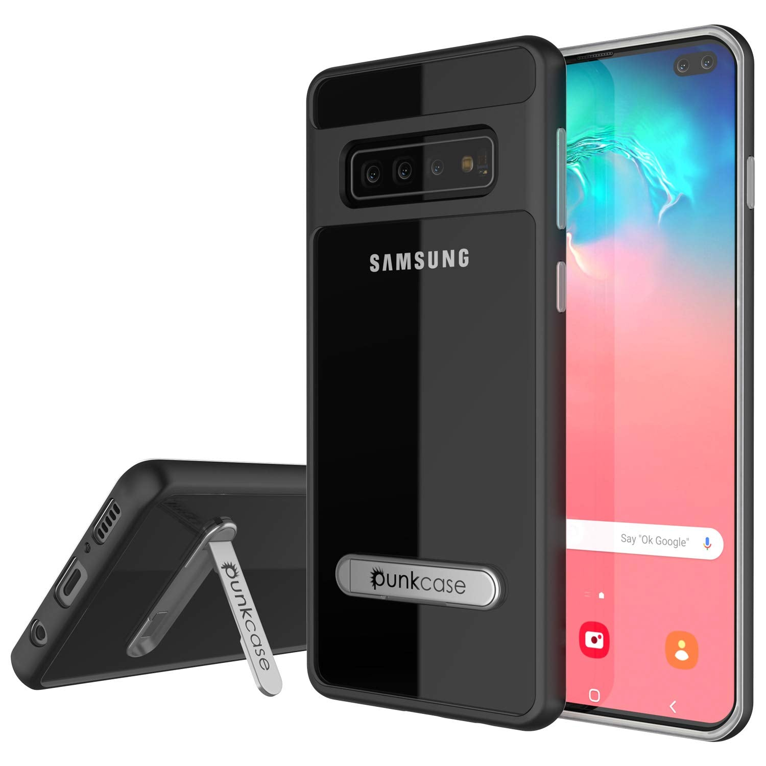 Galaxy S10 Case, PUNKcase [LUCID 3.0 Series] [Slim Fit] [Clear Back] Armor Cover w/ Integrated Screen Protector [Black]