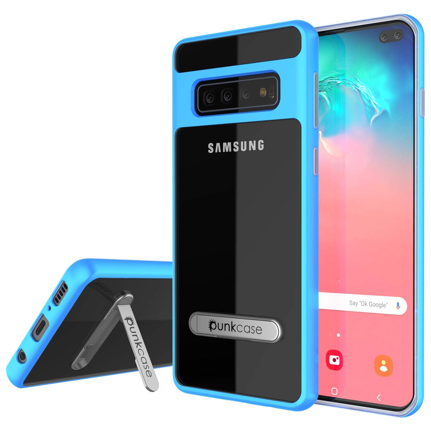 Galaxy S10+ Plus Case, PUNKcase [LUCID 3.0 Series] [Slim Fit] Armor Cover w/ Integrated Screen Protector [Blue]