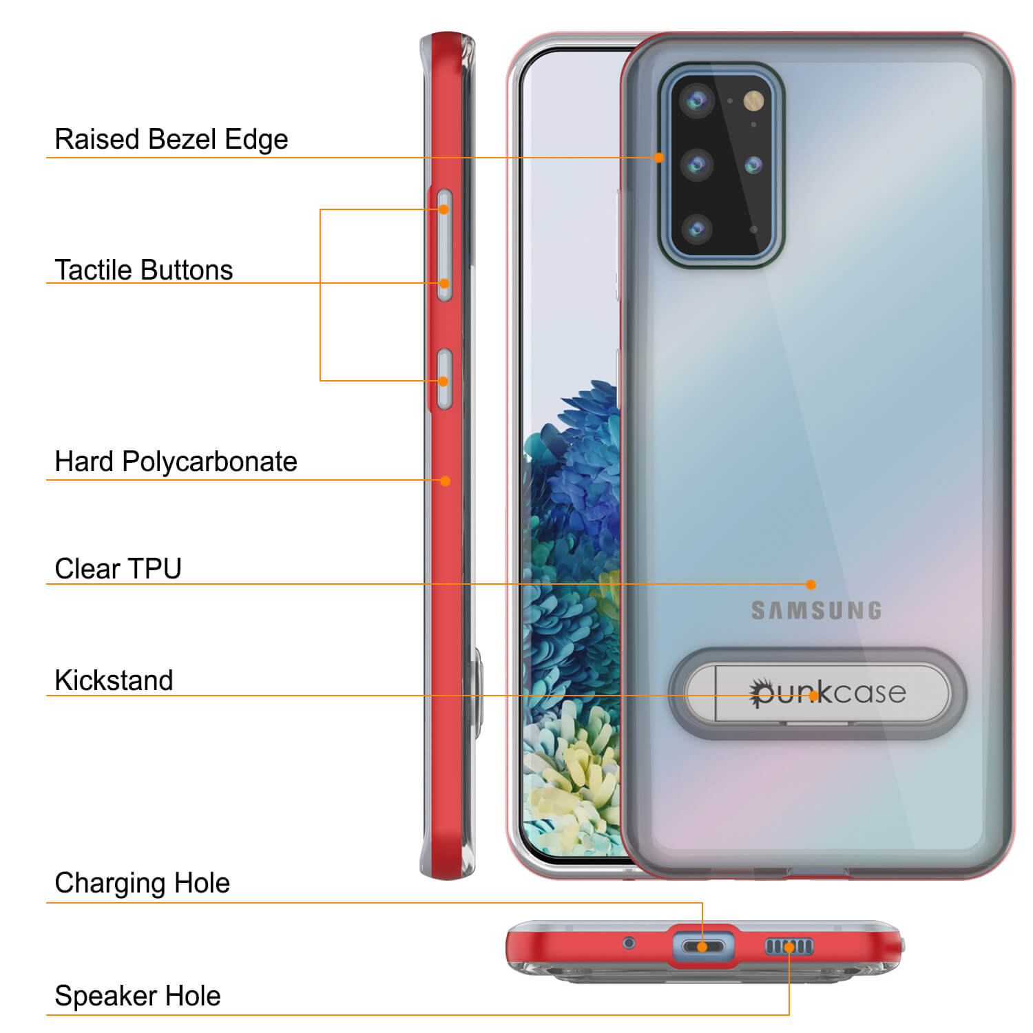 Galaxy S20+ Plus Case, PUNKcase [LUCID 3.0 Series] [Slim Fit] Armor Cover w/ Integrated Screen Protector [Red]