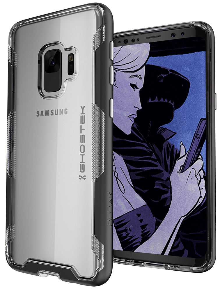 Galaxy S9 Clear Protective Case | Cloak 3 Series [Black]