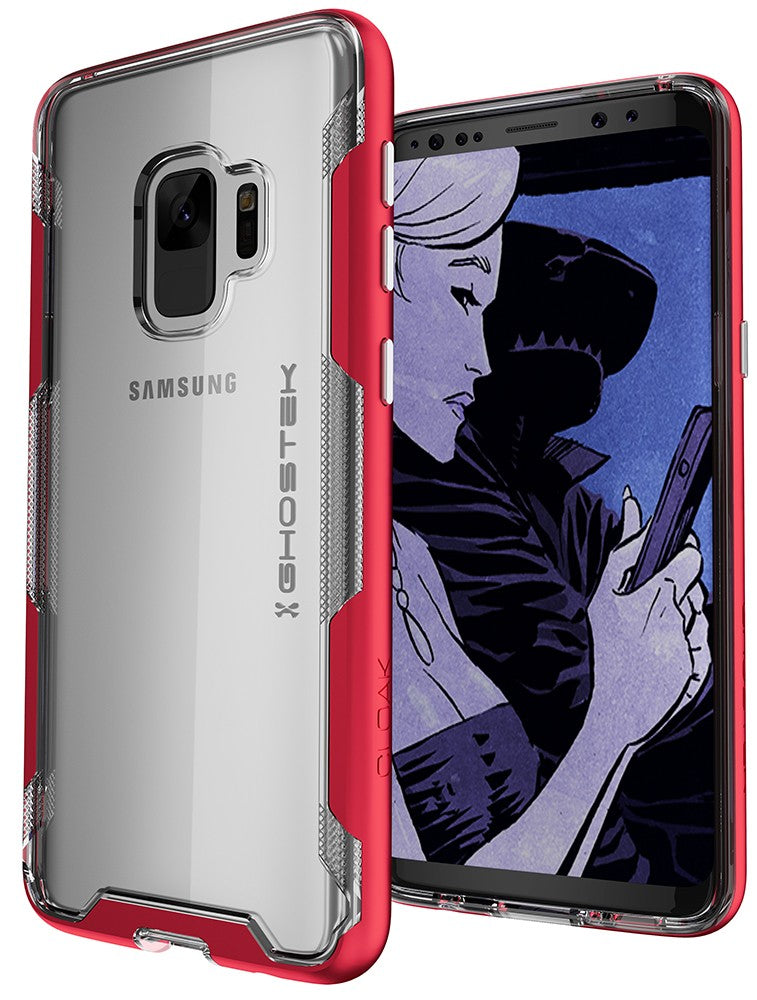 Galaxy S9 Clear Protective Case | Cloak 3 Series [Red]