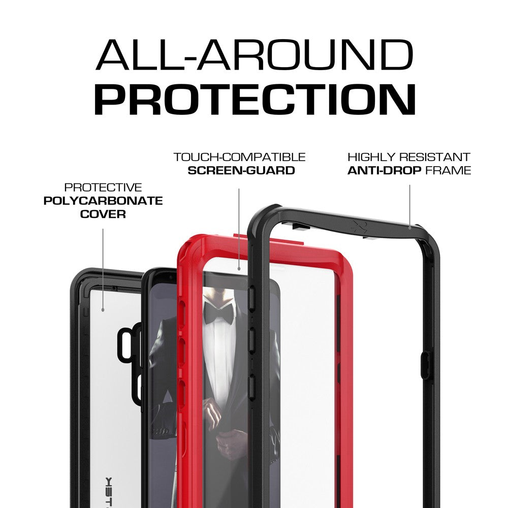 Galaxy S9+ Plus Rugged Waterproof Case | Nautical Series | [Red]