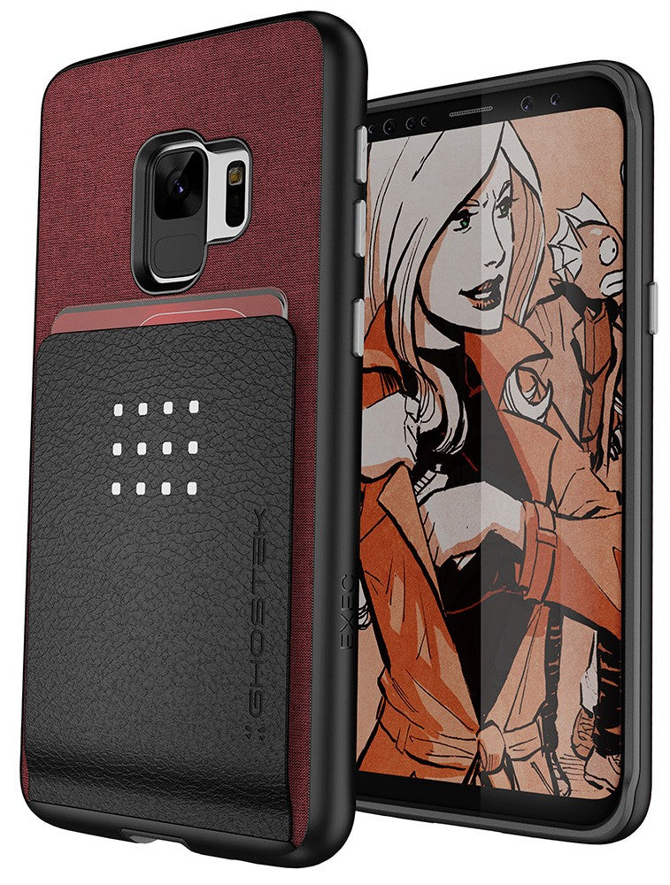 Galaxy S9 Protective Wallet Case | Exec 2 Series [Red]