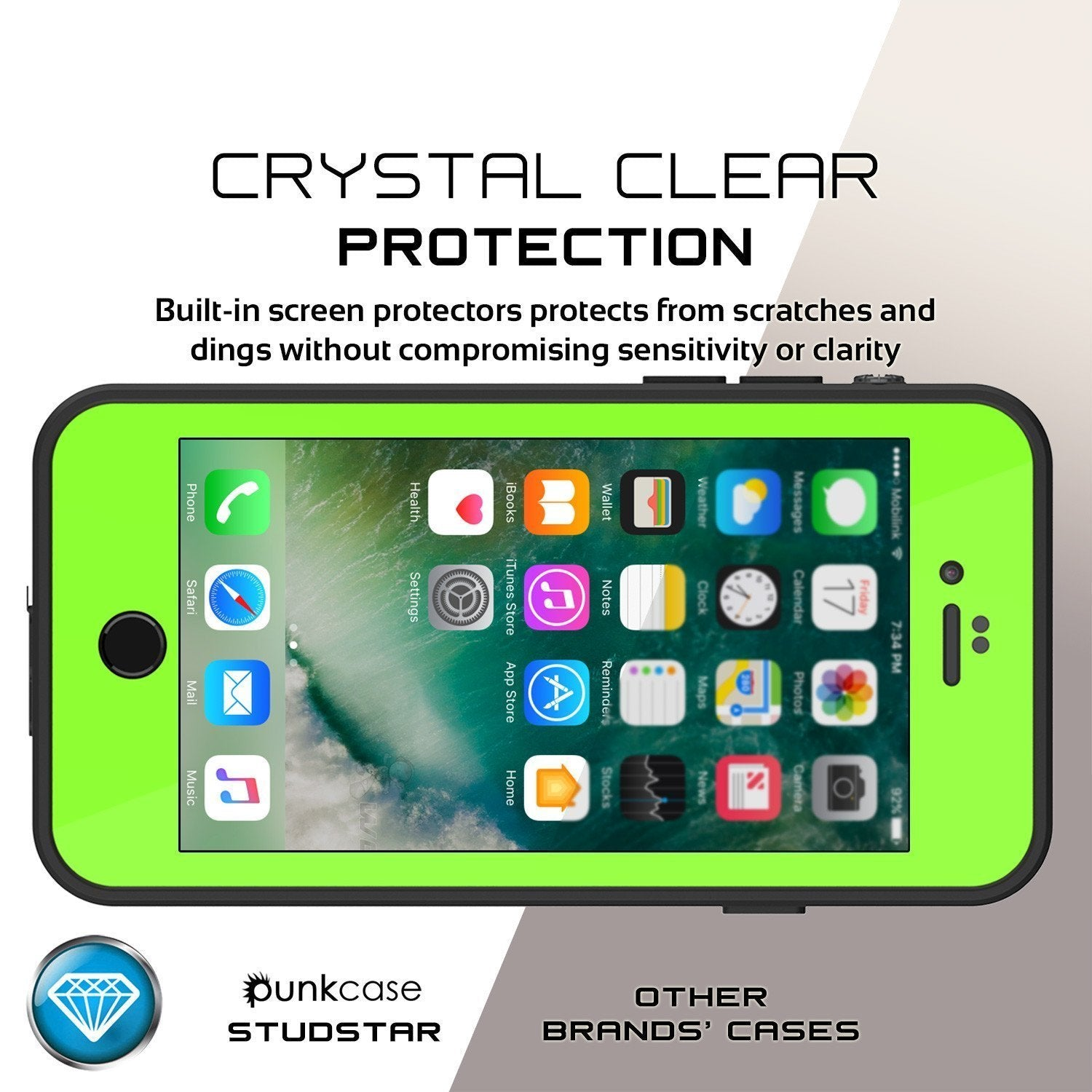 iPhone 8 Waterproof Case, Punkcase [Light Green] [StudStar Series] [Slim Fit][IP68 Certified]  [Dirt/Snow Proof]