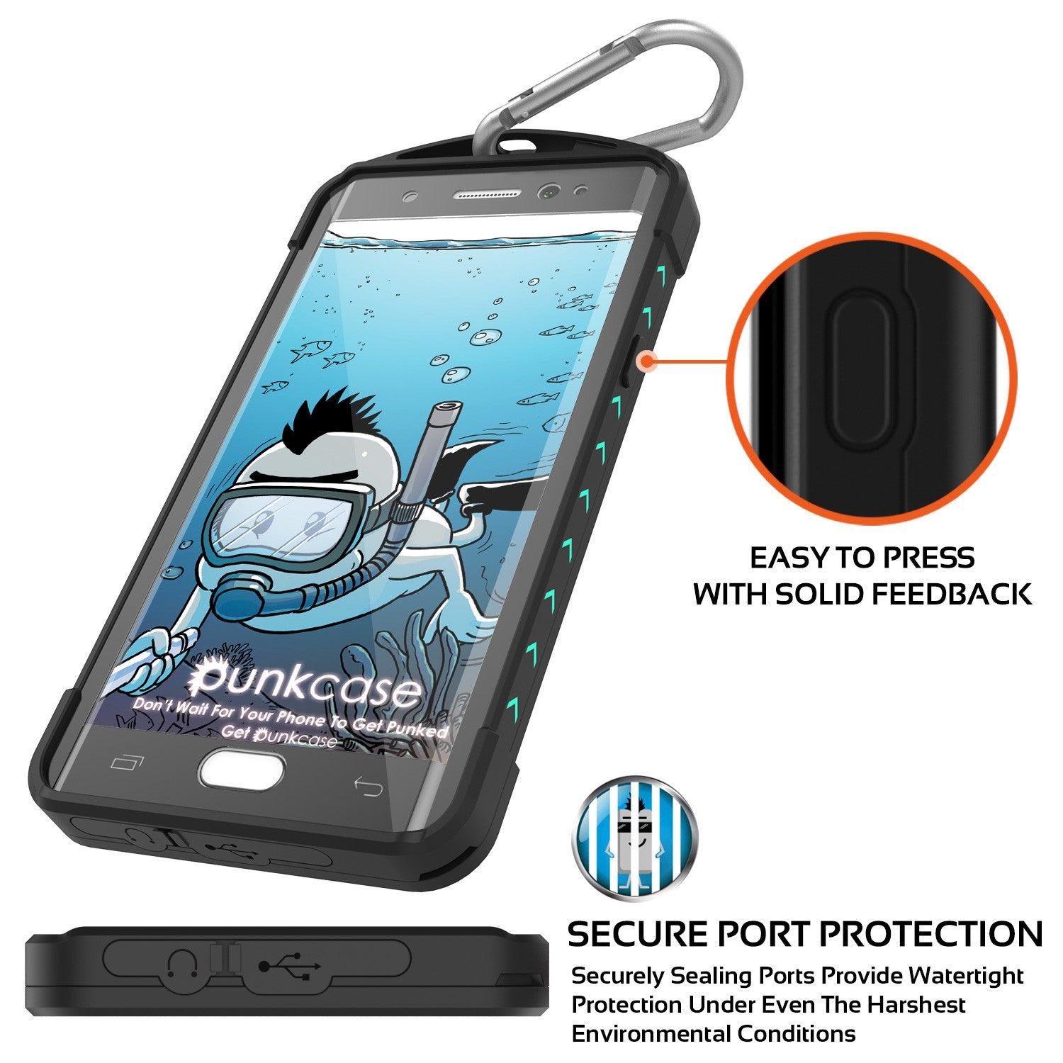 Galaxy Note 7 Waterproof Case, Punkcase WEBSTER Series, Teal | Heavy Duty Armor Cover